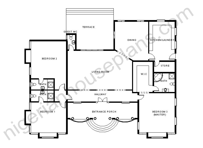 Anthony olusegun page 2 nigerianhouseplans for 3 bedroom bungalow plan