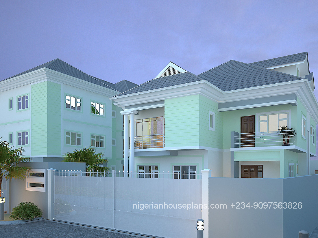 nigeria,house,plan,home,building,design,5 bedroom,block of flats