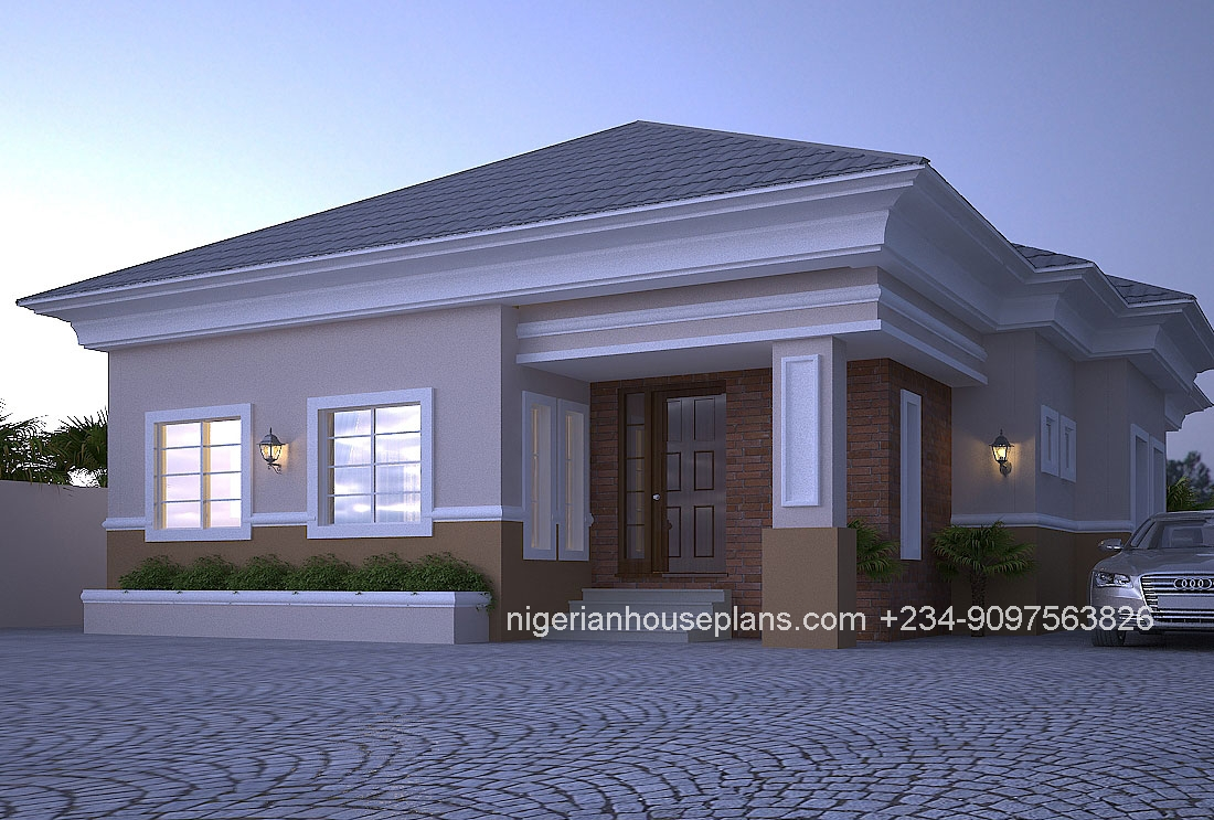 4 bedroom bungalow ref nos 4012 nigerianhouseplans for 4 bedroom farmhouse plans